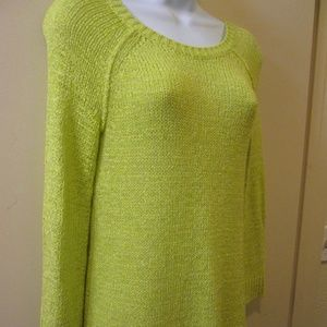 CABLE AND GAUGE XSMALL SWEATER,  LIME GREEN